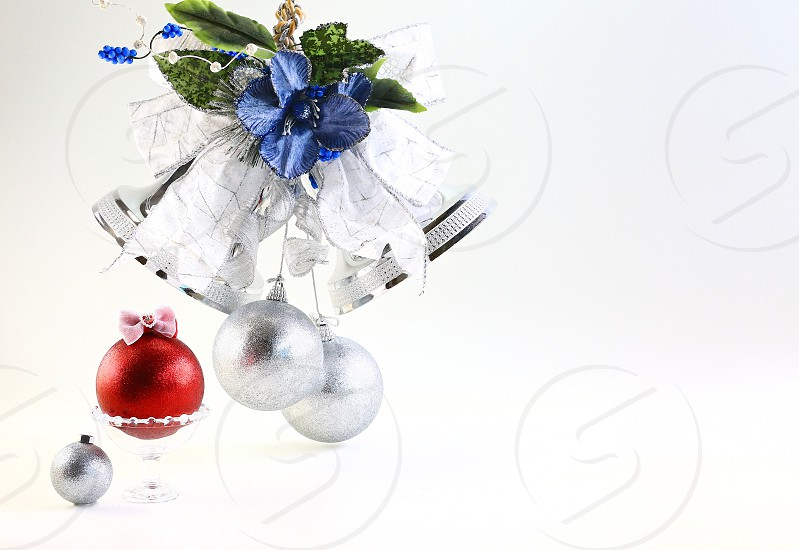 'Christmas Icons' (2): Bell Blue Christmas Bell Glass Gold Ornaments Red Ribbon Silver White Background Lovely Simple photo