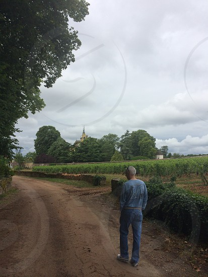 Walking down a dirt lane in France wine growing regions photo