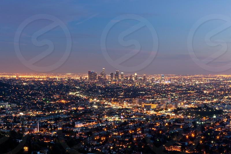 Bird's eye view of city buildings photo