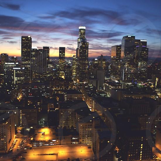Cityscape lights at night photo