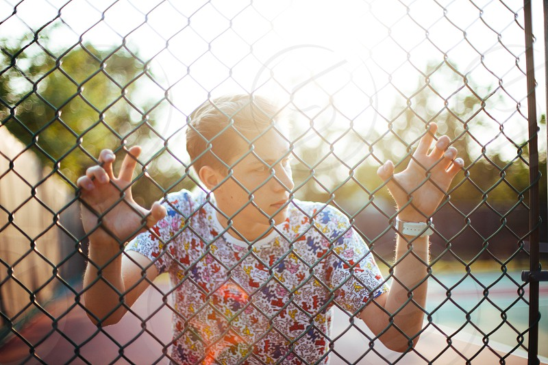 Casey on a tennis court fence at sunset in Chicago. photo