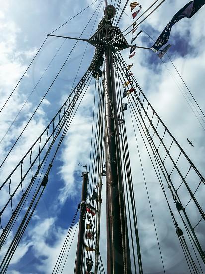 Hoist the main sail sailing ship tall ship rigging mast  photo