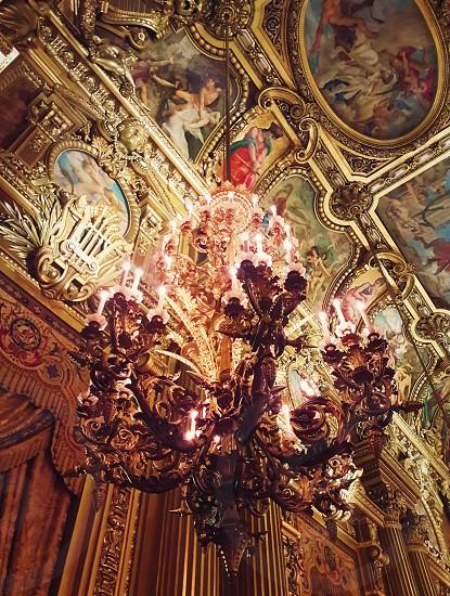 Close up of chandelier inside Opera Garnier in Paris France. photo