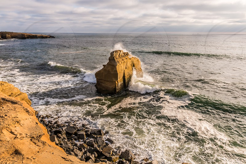 Bird Rock at Sunset Cliffs in the Point Loma area of San Diego California.   photo