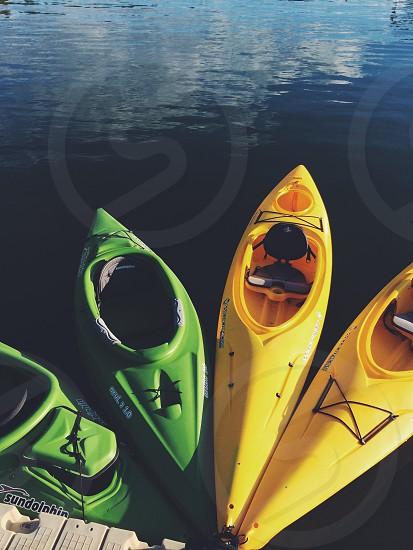 2 yellow kayak photo