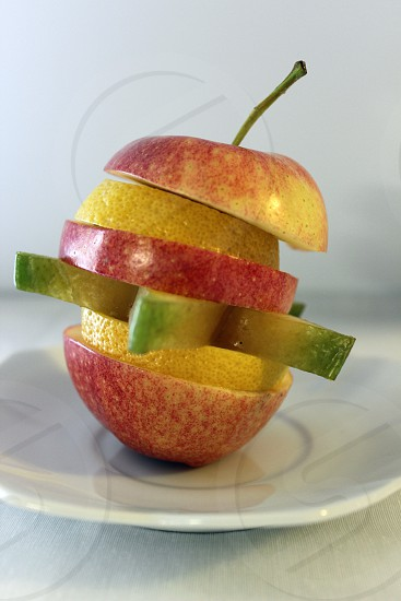 Sliced apple and lemon puzzle photo