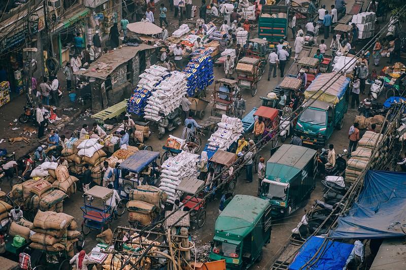 Busy market in New Delhi India. photo