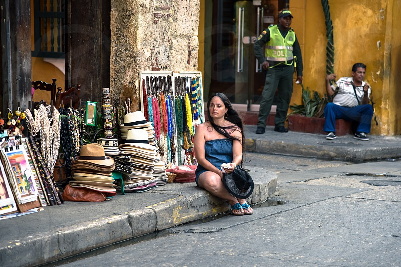 In the colorful streets of Cartagena Colombia photo