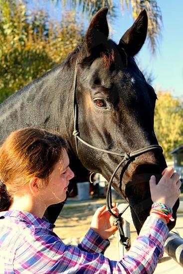 Horse teen girl love photo
