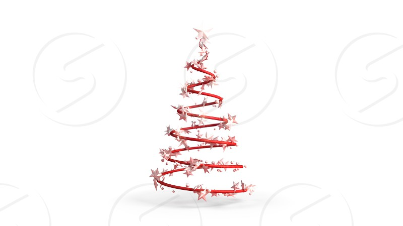 3D illustration of a Christmas tree on a white background photo