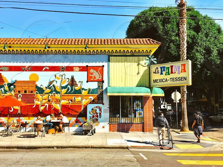 Mexican restaurant street scene sidewalk cafe photo