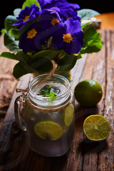 fresh mojito on a rustic table. Shallow dof photo