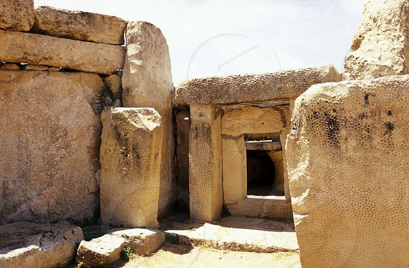 The Ruin of the Hagar Qim Temple in the south of Malta in Europe. photo