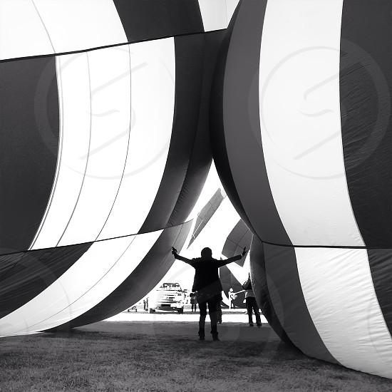 man in a hot air ballon   photo