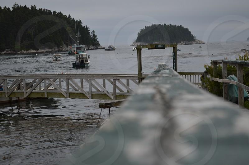 lobster boat island dock idyllic Maine photo