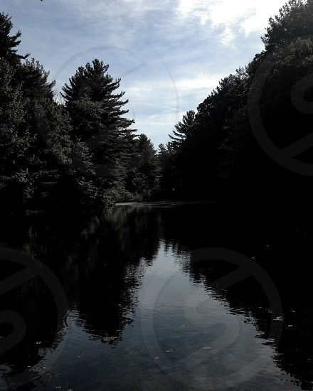 River lake trees pacific northwest Midwest reflection pond water ocean shore photo
