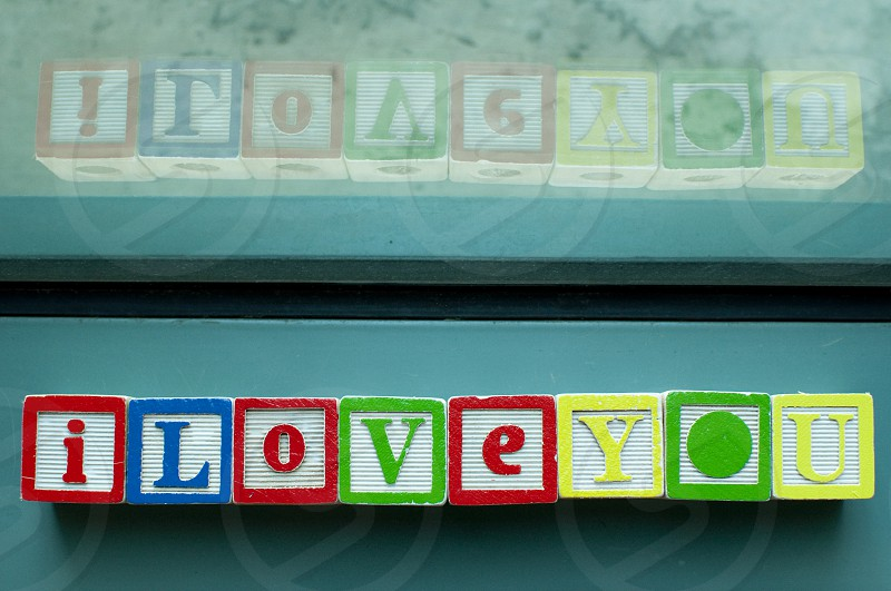 I love you written on colorful toy blocks photo