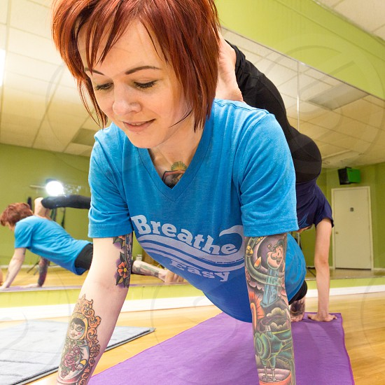 """Partners yoga with """"Breathe Easy"""" t-shirt photo"""