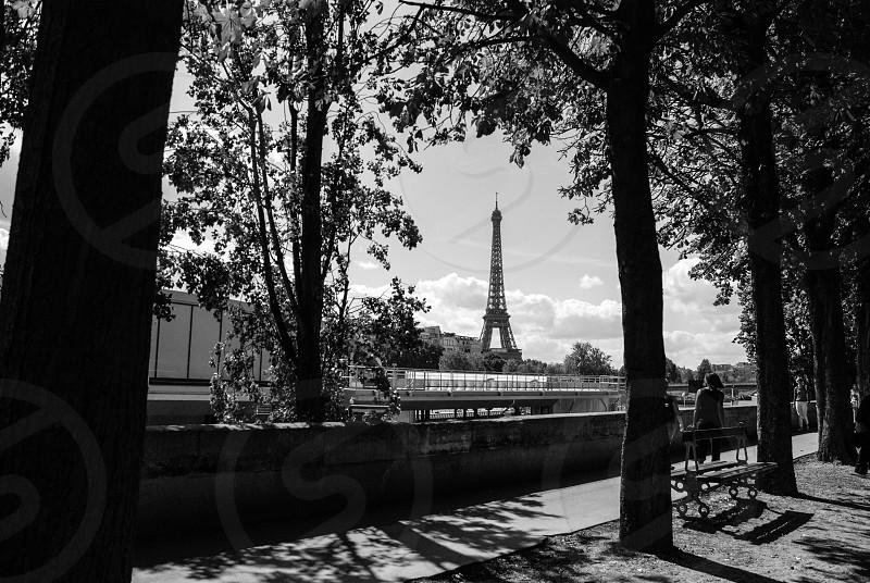Paris Eiffel Tower Black And White Street Film Noir Street Scene People Walking By Jorge Bache Photo Stock Snapwire