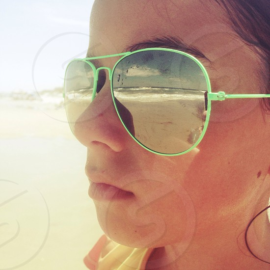 green aviator sunglasses photo