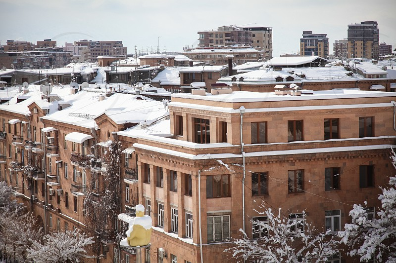 Yerevan Armenia Architecture winter snow photo