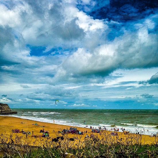Viking Bay Beach Broadstairs Kent South East Kites Surfing Waves Sky Holiday Summer 2014 Clouds Surf  photo
