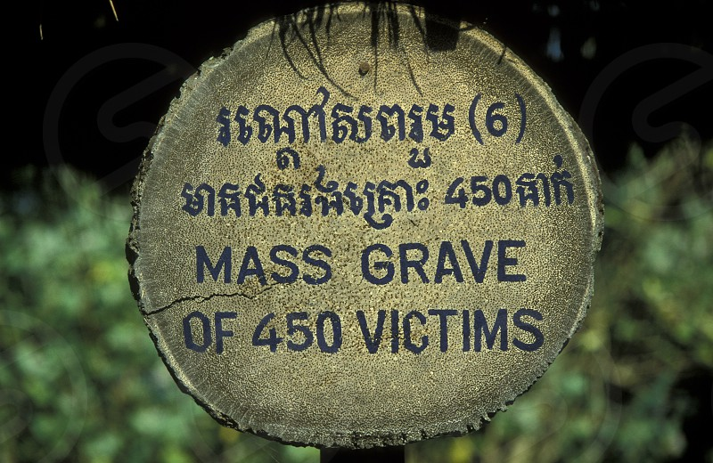 the museum of the killing fields of the khmer rouge outside of the city of phnom penh in cambodia in southeastasia.  photo