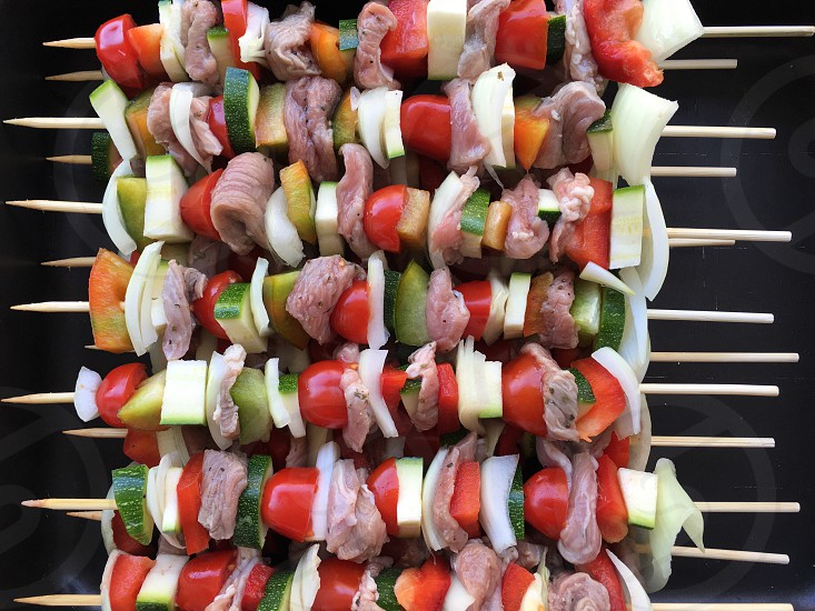 Skewers closeup on barbecue photo