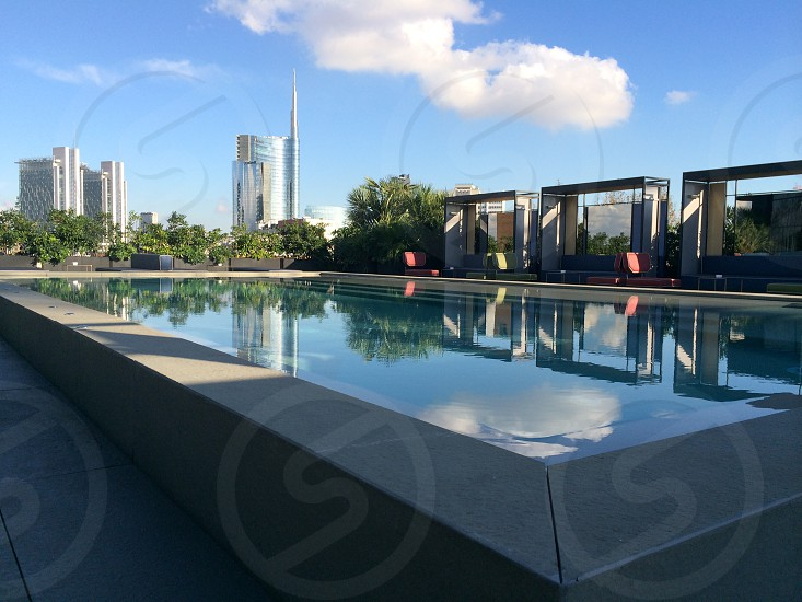 Milan rooftop pool swimming water design art sky photo