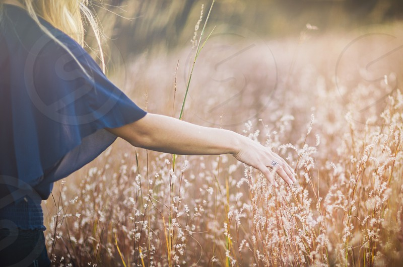 woman in blue chiffon top touching brown grass during daytime photo
