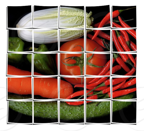 assorted vegetables on black background collage composition of multiple images over white photo