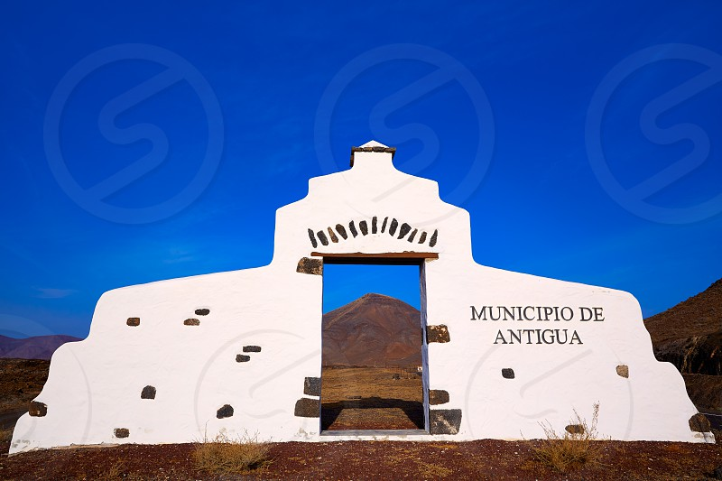 Antigua welcome monument sign Fuerteventura at Canary Islands of Spain photo