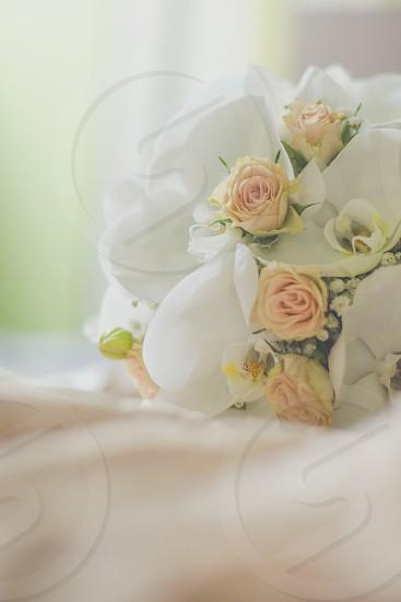Beautiful pastel wedding bouquet photo