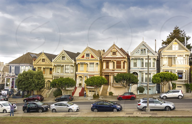 San Francisco CA USA October 26th 2016: world famous Painted Ladies victorian houses in Alamo Square Park San Francisco California photo