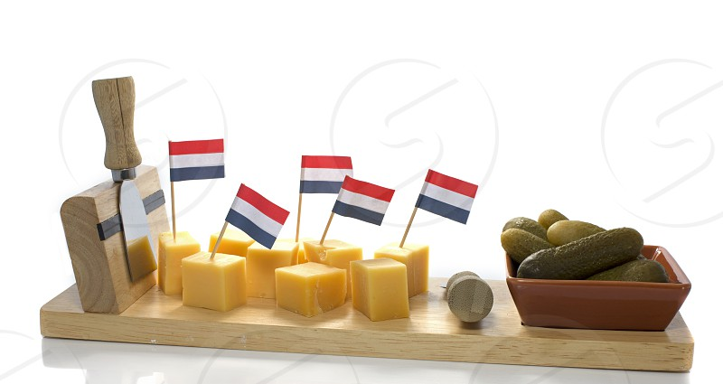 dutch flag on pieces of cheese photo