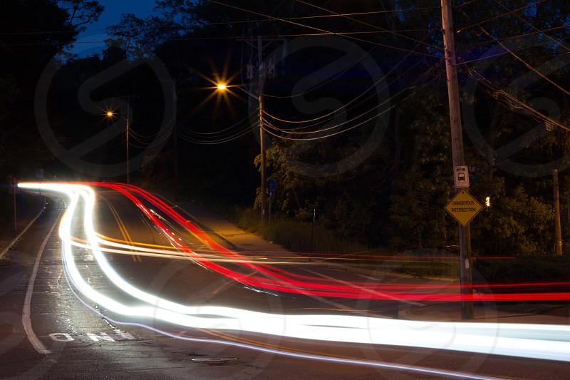 Hill light blur motion cars shutter traffic road red white night time photo