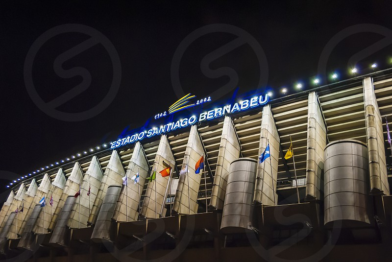 Madrid Spain february 2010: Exterior of the Santiago Bernabeu stadium in Madrid the home of Real Madrid soccer team. Night shot photo