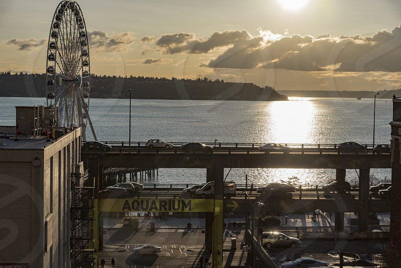 Aerial view of the waterfront where the Seattle Aquarium is located with the Alaska way viaduct at sunset. photo