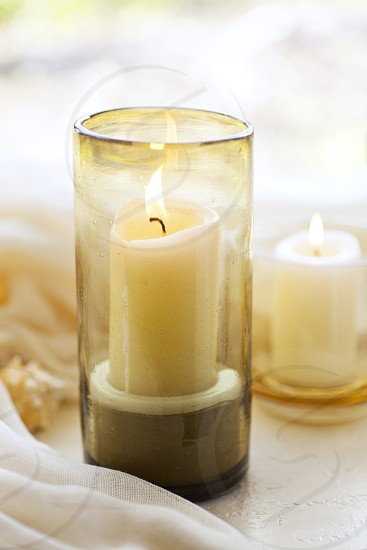 Evening Decor - two candles.  photo