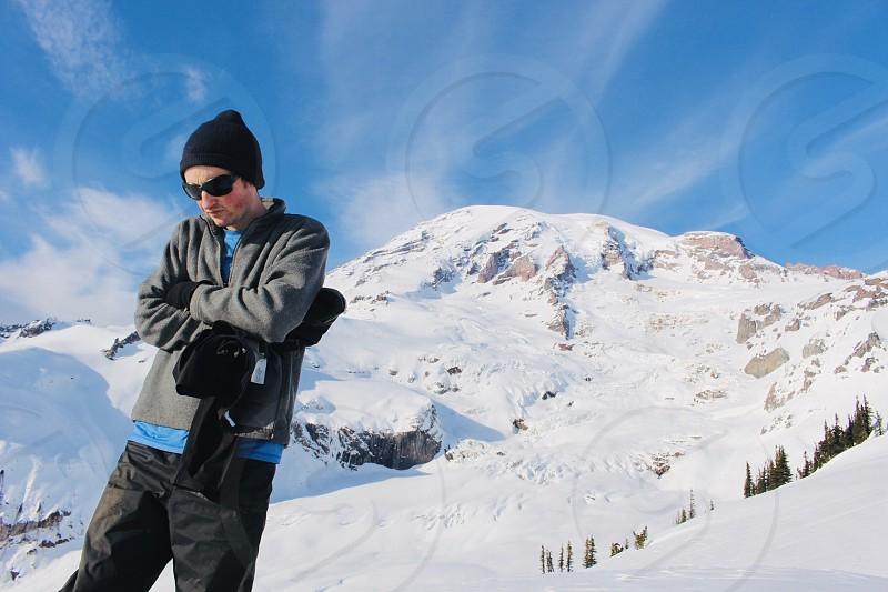 Snowshoe winter man mountain snow seasons photo