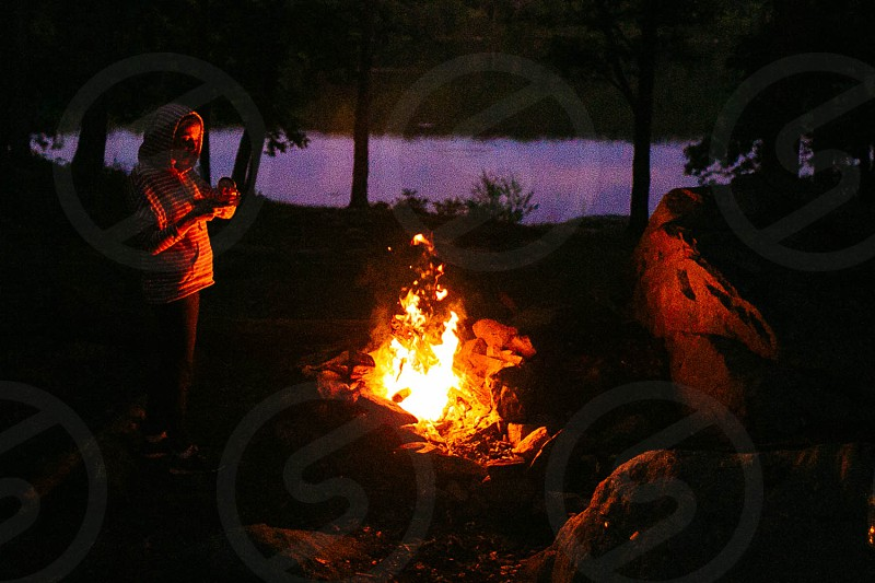 camp fire camp backpacking fire night lake nature woods camping photo