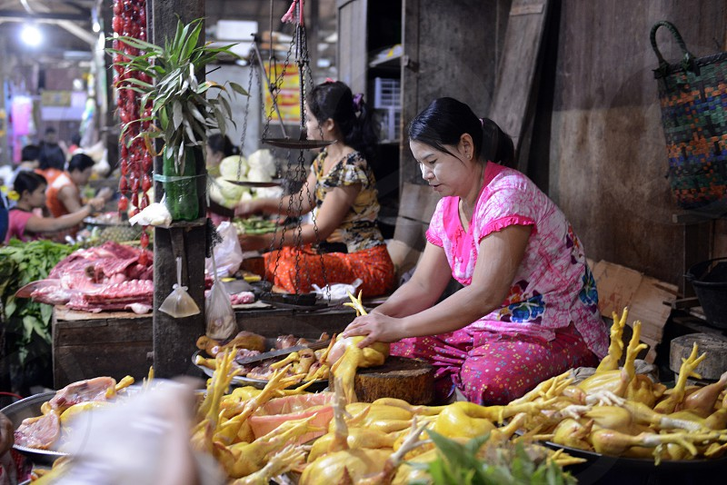 the municipal market in the city of Myeik in the south in Myanmar in Southeastasia. photo