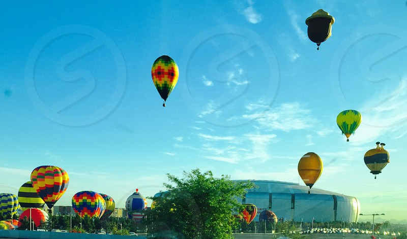 Hot air balloon blue sky launching photo