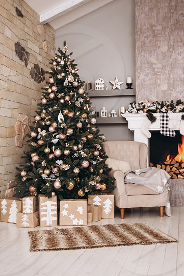 Christmas Interior Room Tree Home Decoration Christmas Tree Fireplace Living Xmas Holiday House Table Furniture Lights Design Living Room Gift Decor Celebration Winter By Svetlana Baranovskaya Photo Stock Snapwire