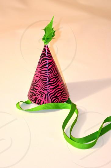 Duct Tape Party Hat Birthday Green Ribbon Pink & Black Zebra Stripes photo