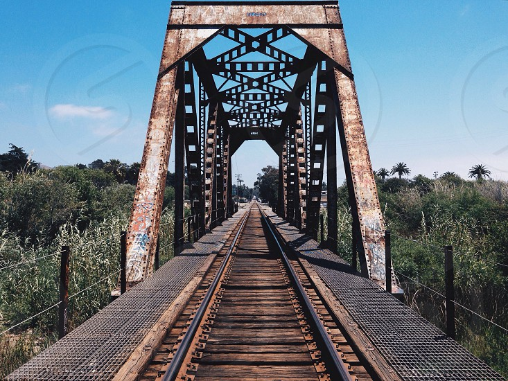 steel rail road bridge tracks photo