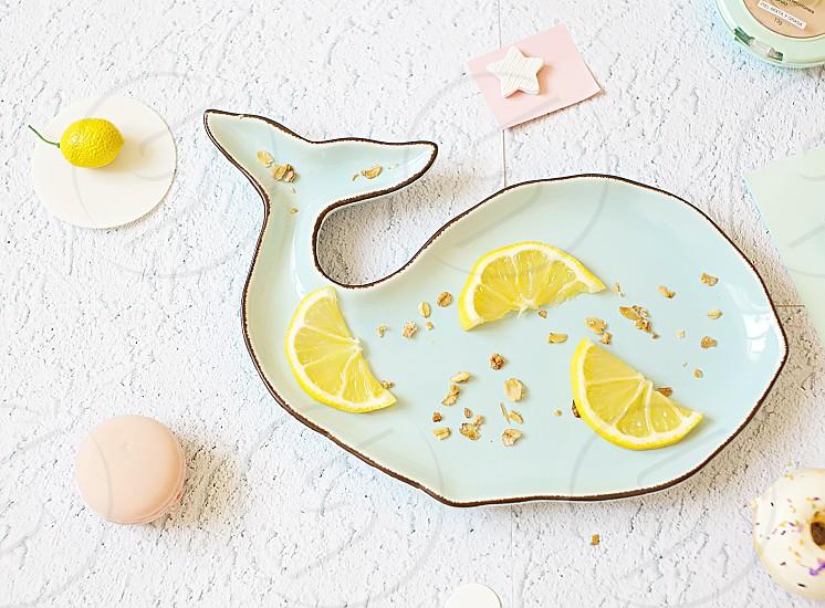 Food dishes whale lemon blue background background business summer mood flat lay freelance star photo