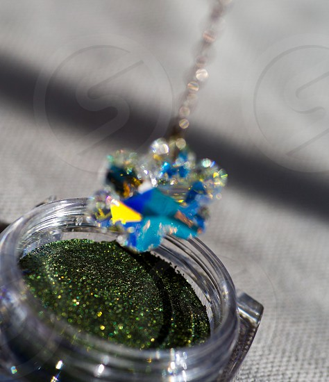 blue and clear snowflakes pendant photo
