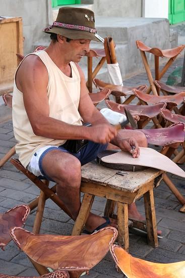 Stoolmaker in Lanzarote Canary Islands photo