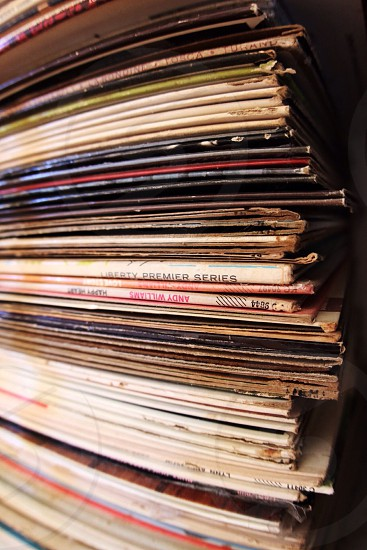 pile of vinyl records photo